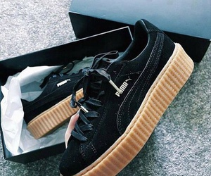 black, shoes, and puma creepers image