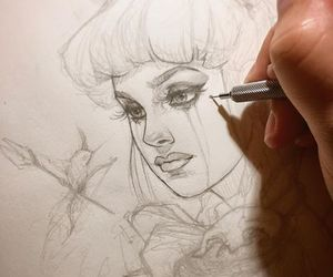 drawing, face, and sketch image
