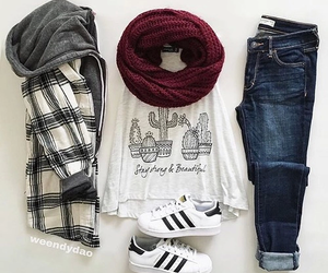 outfit, adidas, and jeans image