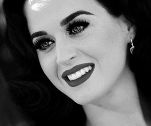 katy perry, black and white, and smile image