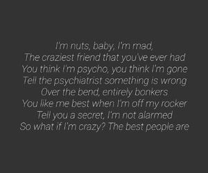 crazy, insane, and Lyrics image