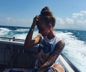 girl, ocean, and tattoo image