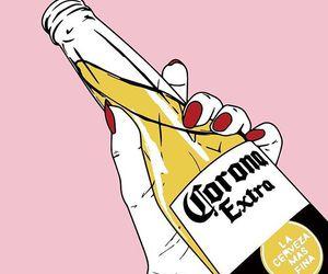 beer, pink, and corona image