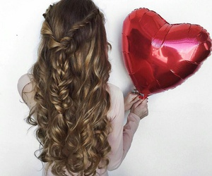 hair, balloons, and girly image