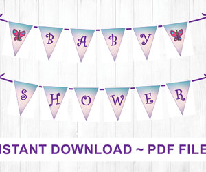 baby girl, banner, and baby shower decor image