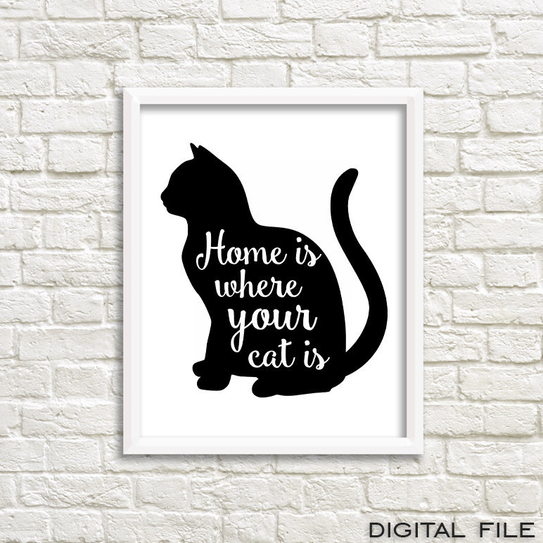 Gift For Women Cat Lover Gift Cat Wall Art Illustration Cat Printable Art  Cat Quote Poster Pet Quotes Meow Decor Cat Gifts For Cats Cat Lady