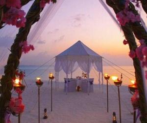beach, wedding, and flowers image
