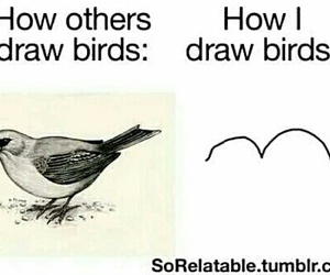 bird, funny, and drawing image