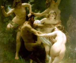 bouguereau, satyr, and nymphs image