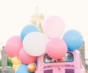 balloons, car, and pink image