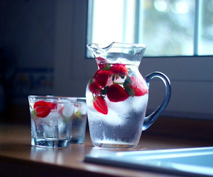 strawberry, water, and drink image