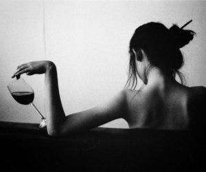 girl, mood, and wine image