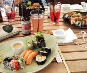 food, sushi, and drink image