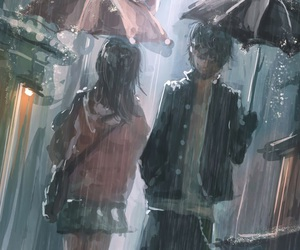 anime, rain, and boy image