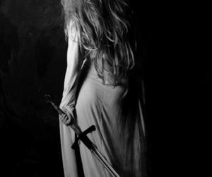 sword, black and white, and dark image