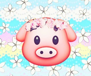 pig, wallpaper, and flowers image
