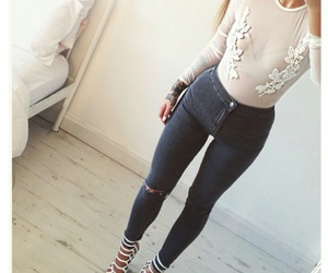 mesh long sleeve, black ripped jeans, and ripped high waisted jeans image