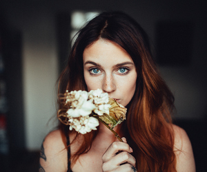 model and flowers image