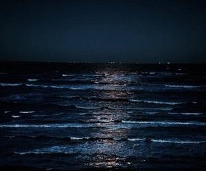 sea, night, and blue image