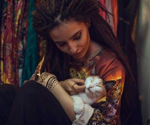 cat, dreadlocks, and girl image