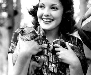 actress, lady, and puppies image