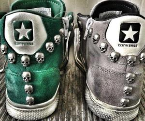 converse, skull, and cool image