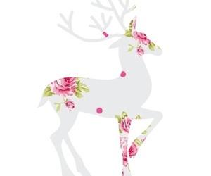 deer, flowers, and pink image
