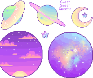 galaxy, pink, and pixel image