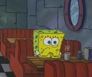 spongebob, alone, and coffee image