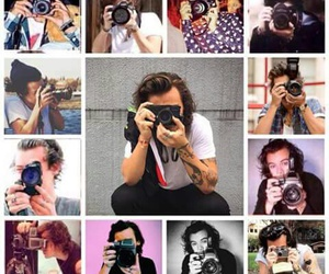 camera, Collage, and one direction image