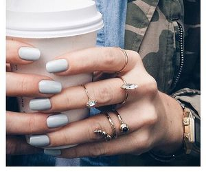 nails, coffee, and rings image