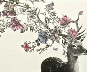 flowers, deer, and art image