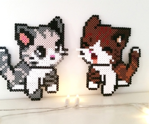 kittens, pixel art, and perler beads image