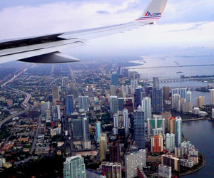 city, plane, and travel image