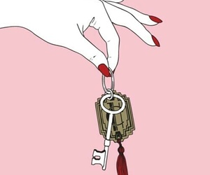 pink, key, and hand image
