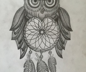 drawing, dreamcatcher, and owl image