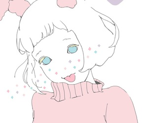 pink, white hair, and イラスト image