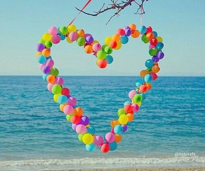 heart, balloons, and beach image