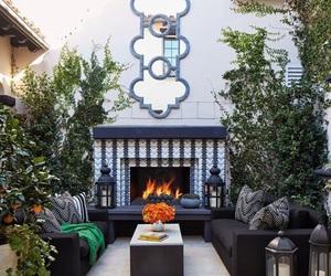 fireplace, khloe kardashian, and garden image