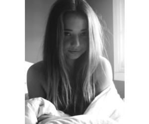 balck and white, girl, and smile image