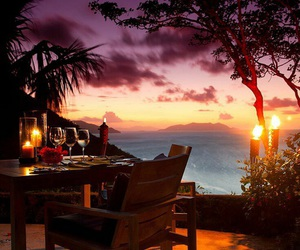 sunset, romantic, and dinner image
