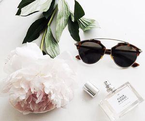 flowers, sunglasses, and perfume image