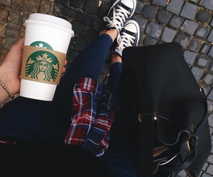 starbucks, converse, and outfit image