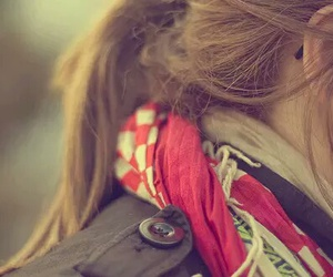girl, hair, and scarf image