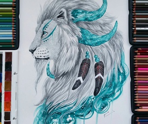 drawing, lion, and art image
