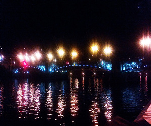 boat, night, and water image