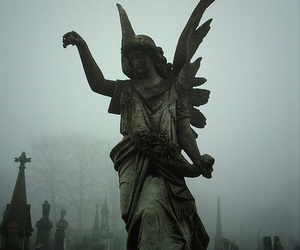 angel, statue, and cemetery image