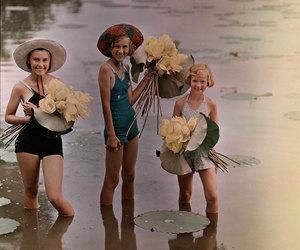 vintage, girl, and lotus image