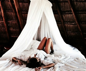 girl, white, and bed image