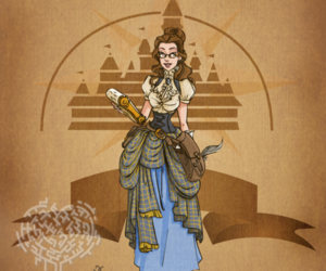 disney, belle, and steampunk image